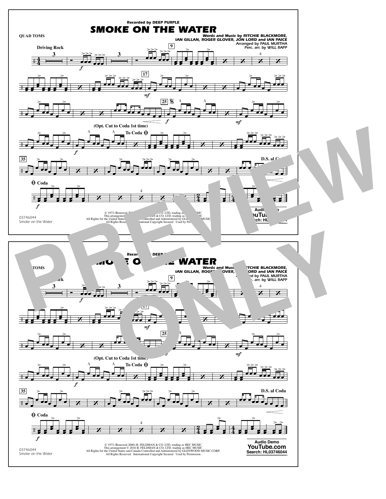 Paul Murtha Smoke on the Water - Quad Toms sheet music notes and chords. Download Printable PDF.