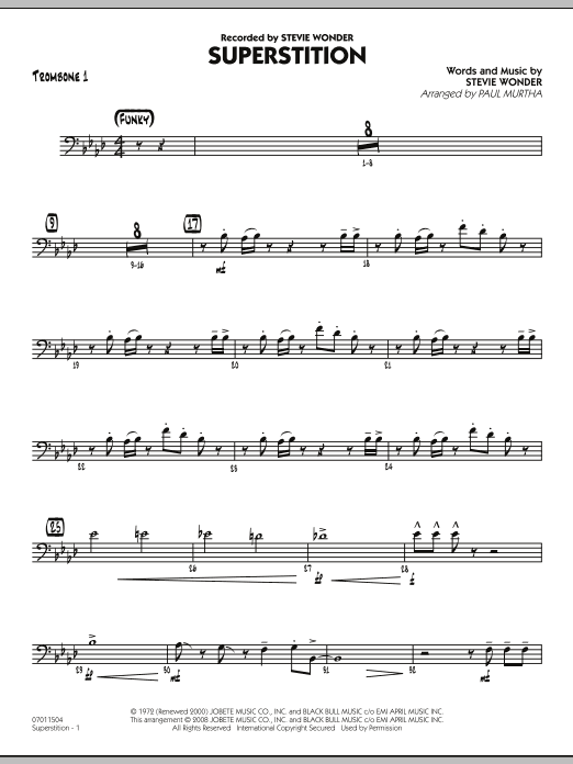 Paul Murtha Superstition - Trombone 1 sheet music notes and chords. Download Printable PDF.