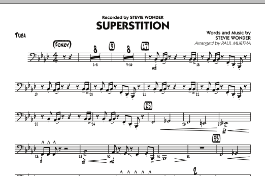Paul Murtha Superstition - Tuba sheet music notes and chords. Download Printable PDF.