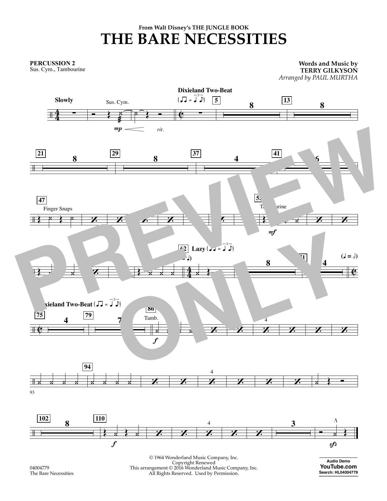 Paul Murtha The Bare Necessities - Percussion 2 sheet music notes and chords. Download Printable PDF.
