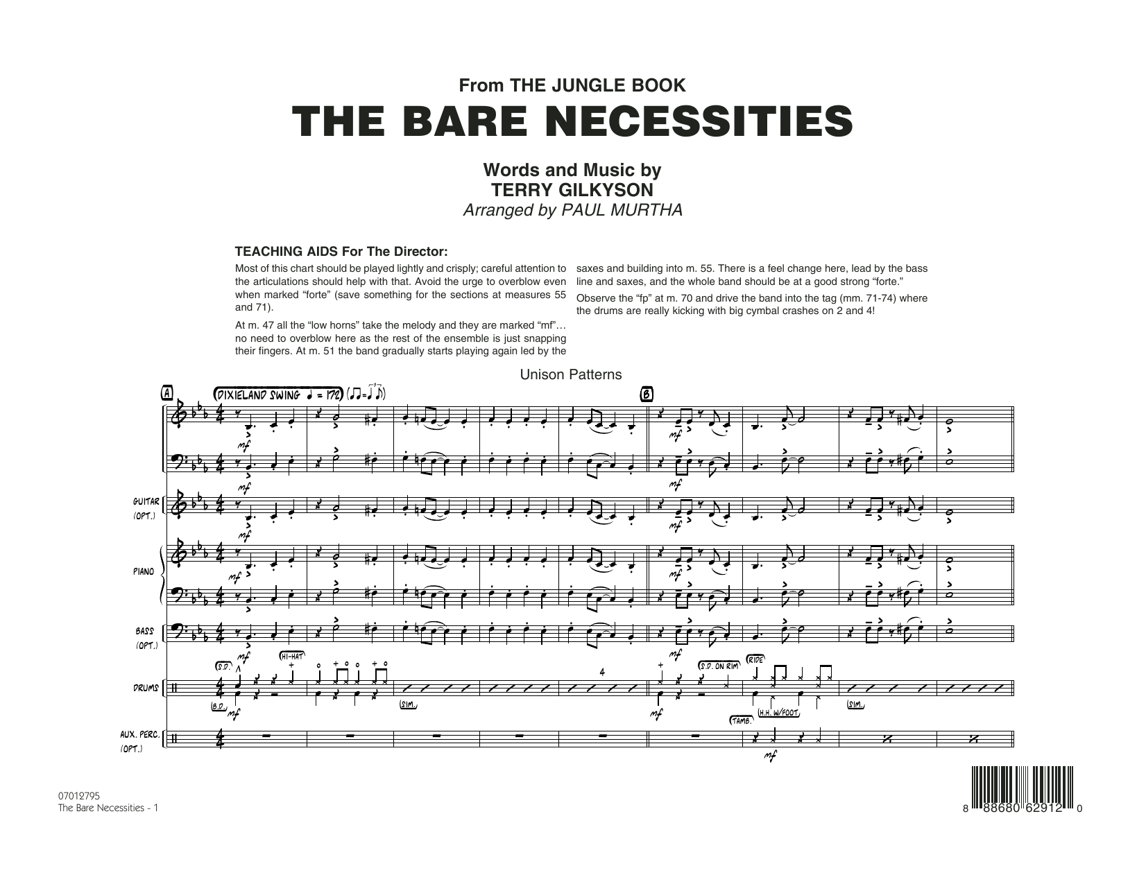 Paul Murtha The Bare Necessities (from The Jungle Book) - Conductor Score (Full Score) sheet music notes and chords. Download Printable PDF.