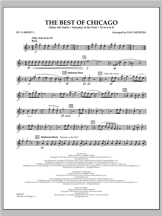 Paul Murtha The Best Of Chicago - Bb Clarinet 1 sheet music notes and chords. Download Printable PDF.