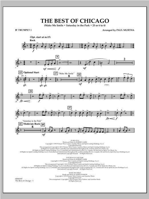 Paul Murtha The Best Of Chicago - Bb Trumpet 1 sheet music notes and chords. Download Printable PDF.