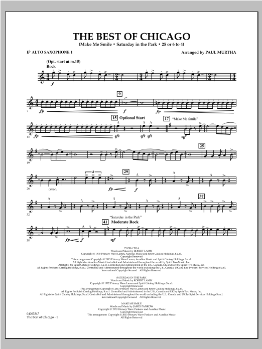 Paul Murtha The Best Of Chicago - Eb Alto Saxophone 1 sheet music notes and chords. Download Printable PDF.