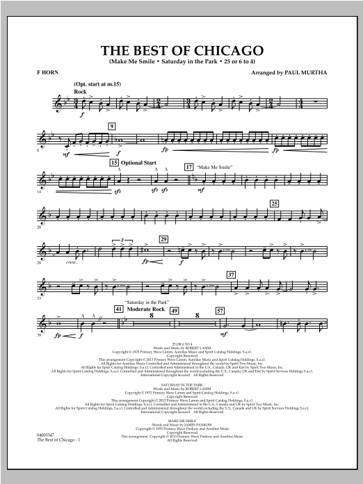 Paul Murtha The Best Of Chicago - F Horn sheet music notes and chords. Download Printable PDF.