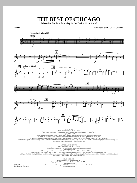 Paul Murtha The Best Of Chicago - Oboe sheet music notes and chords. Download Printable PDF.