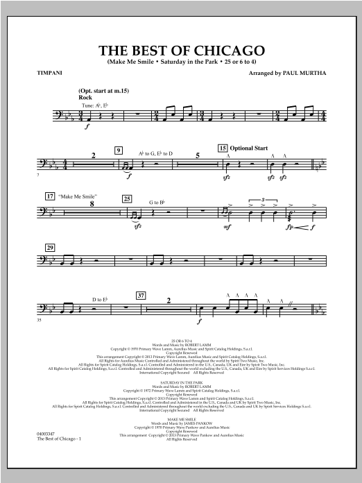 Paul Murtha The Best Of Chicago - Timpani sheet music notes and chords. Download Printable PDF.