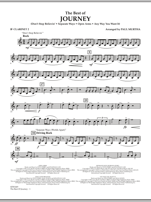 Paul Murtha The Best Of Journey - Bb Clarinet 2 sheet music notes and chords. Download Printable PDF.