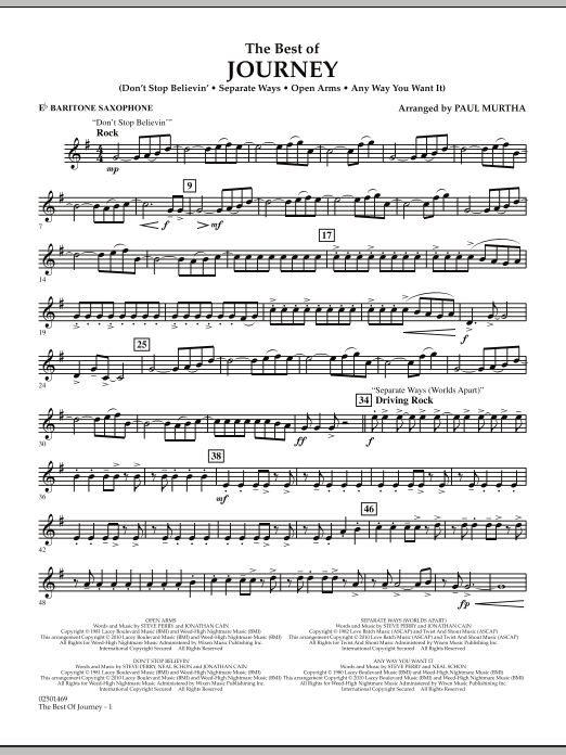 Paul Murtha The Best Of Journey - Eb Baritone Saxophone sheet music notes and chords. Download Printable PDF.