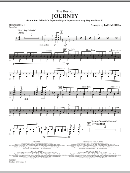 Paul Murtha The Best Of Journey - Percussion 1 sheet music notes and chords. Download Printable PDF.