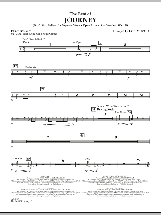 Paul Murtha The Best Of Journey - Percussion 2 sheet music notes and chords. Download Printable PDF.