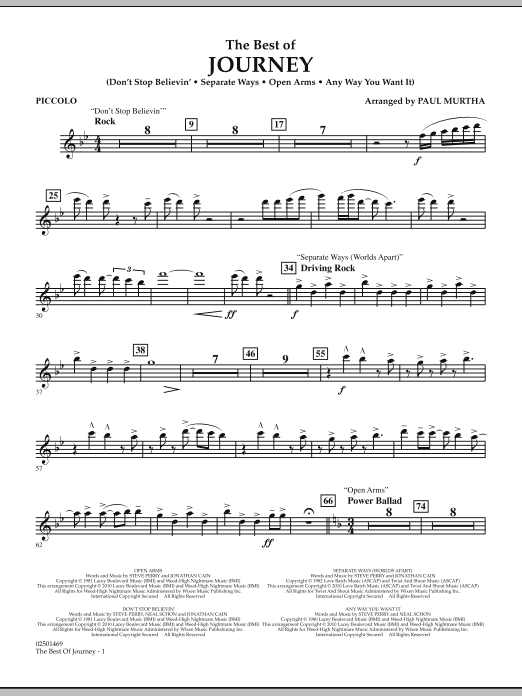 Paul Murtha The Best Of Journey - Piccolo sheet music notes and chords. Download Printable PDF.