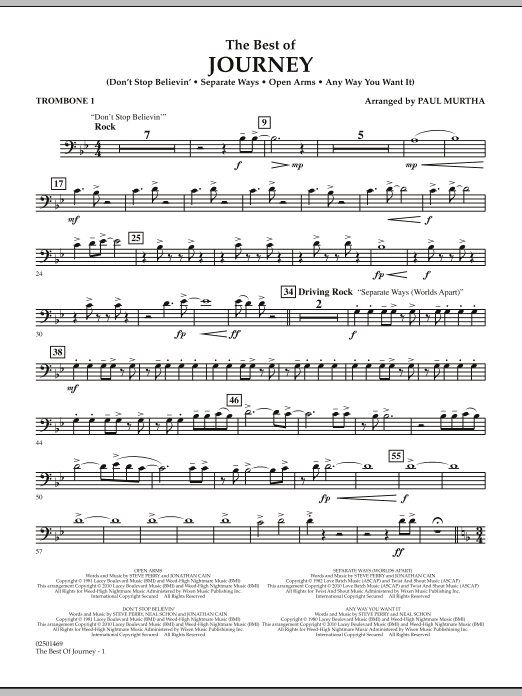 Paul Murtha The Best Of Journey - Trombone 1 sheet music notes and chords. Download Printable PDF.