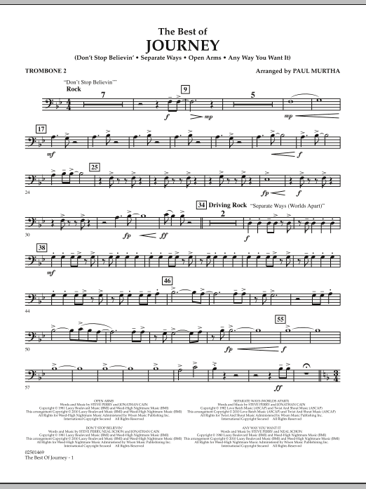 Paul Murtha The Best Of Journey - Trombone 2 sheet music notes and chords. Download Printable PDF.