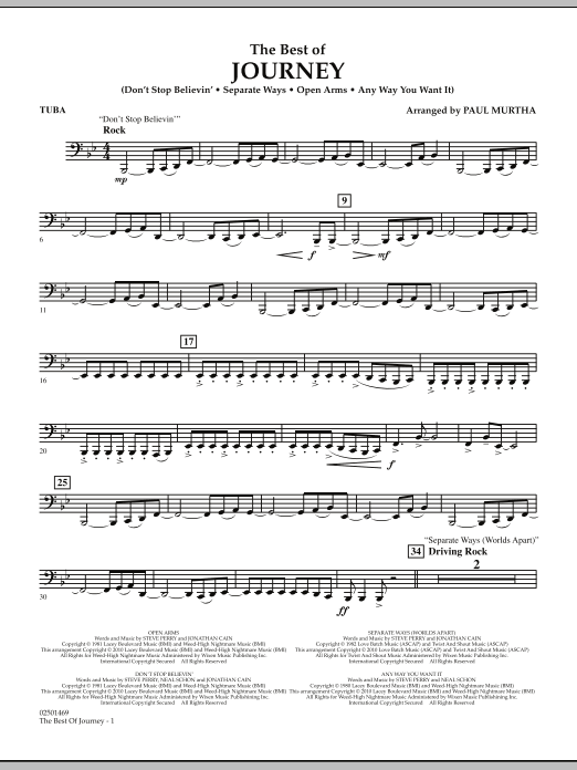 Paul Murtha The Best Of Journey - Tuba sheet music notes and chords. Download Printable PDF.