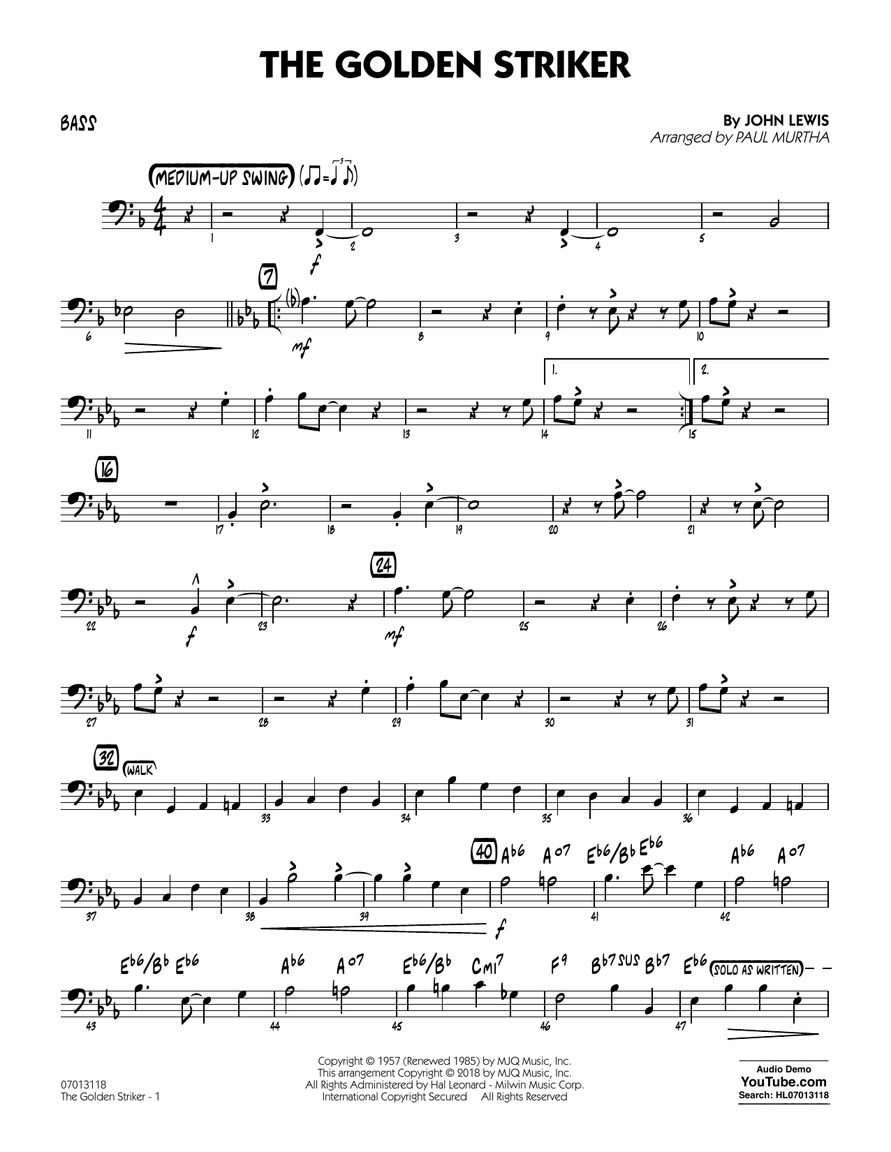 Paul Murtha The Golden Striker - Bass sheet music notes and chords. Download Printable PDF.