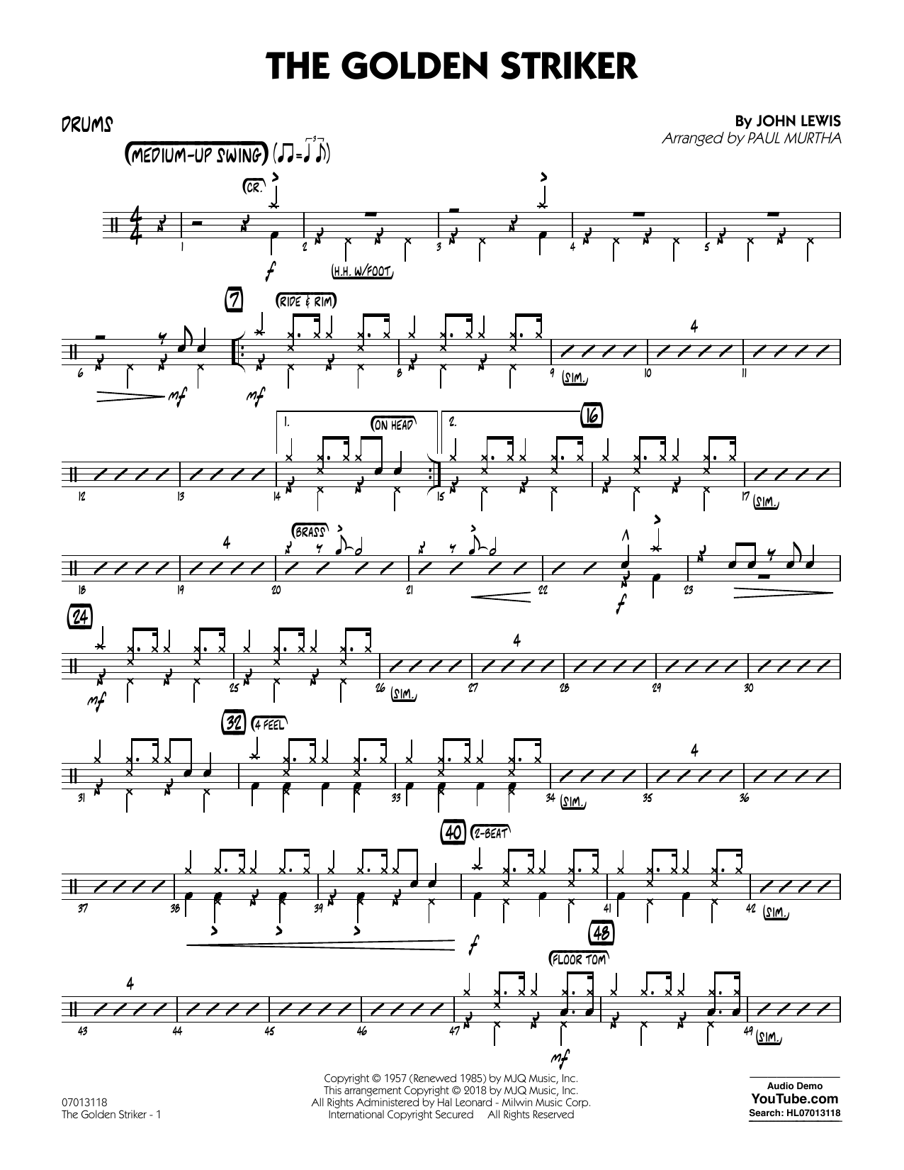 Paul Murtha The Golden Striker - Drums sheet music notes and chords. Download Printable PDF.