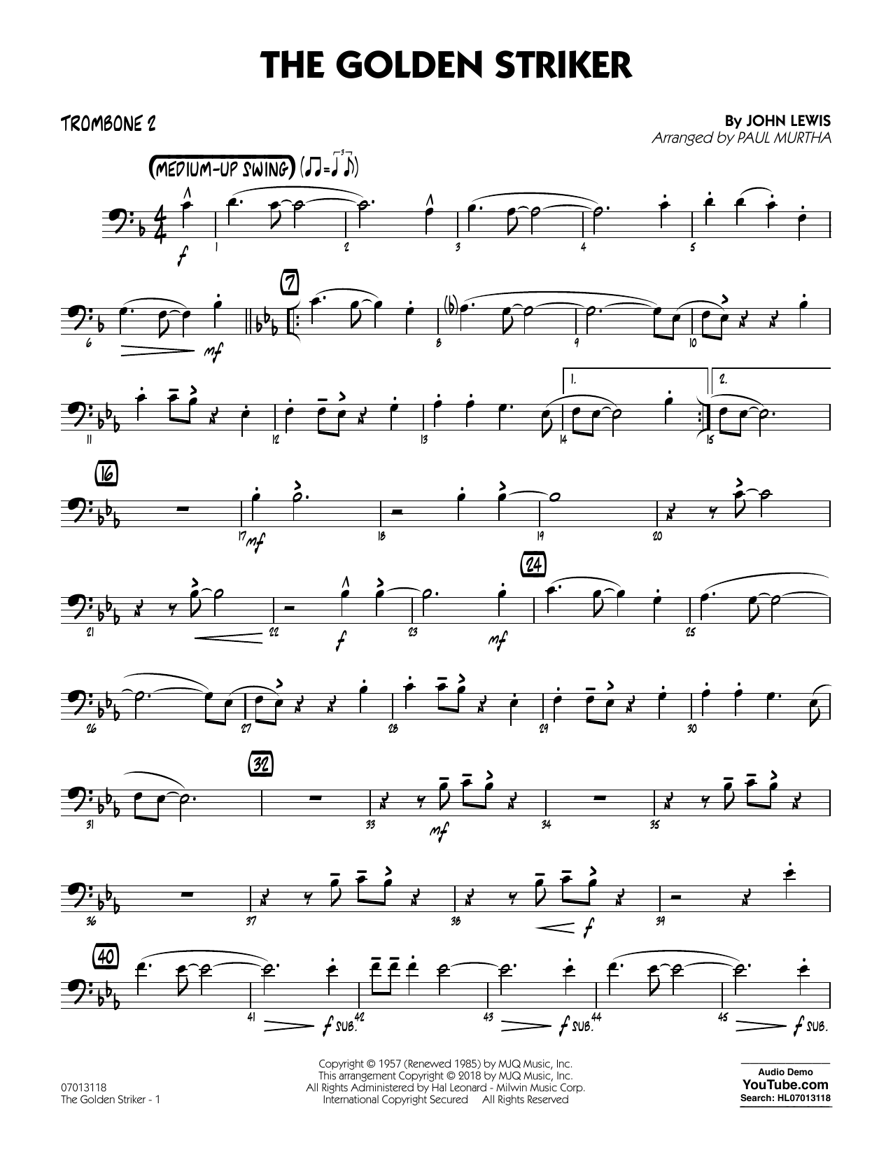 Paul Murtha The Golden Striker - Trombone 2 sheet music notes and chords. Download Printable PDF.