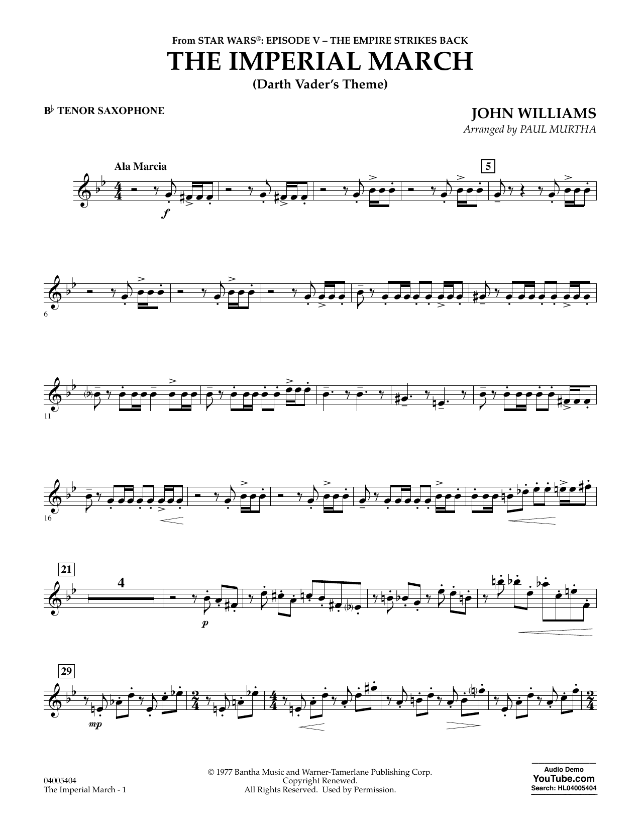 Paul Murtha The Imperial March (Darth Vader's Theme) - Bb Tenor Saxophone sheet music notes and chords. Download Printable PDF.