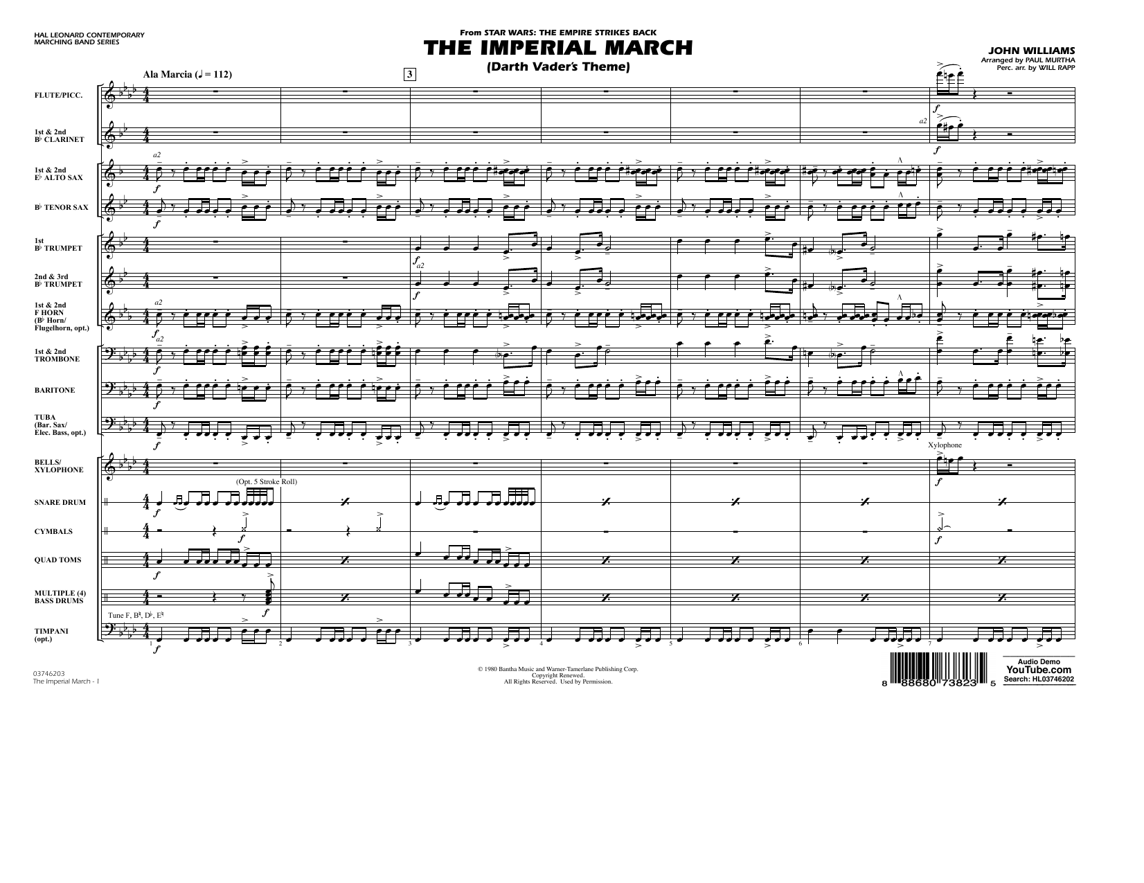 Paul Murtha The Imperial March (Darth Vader's Theme) - Conductor Score (Full Score) sheet music notes and chords. Download Printable PDF.