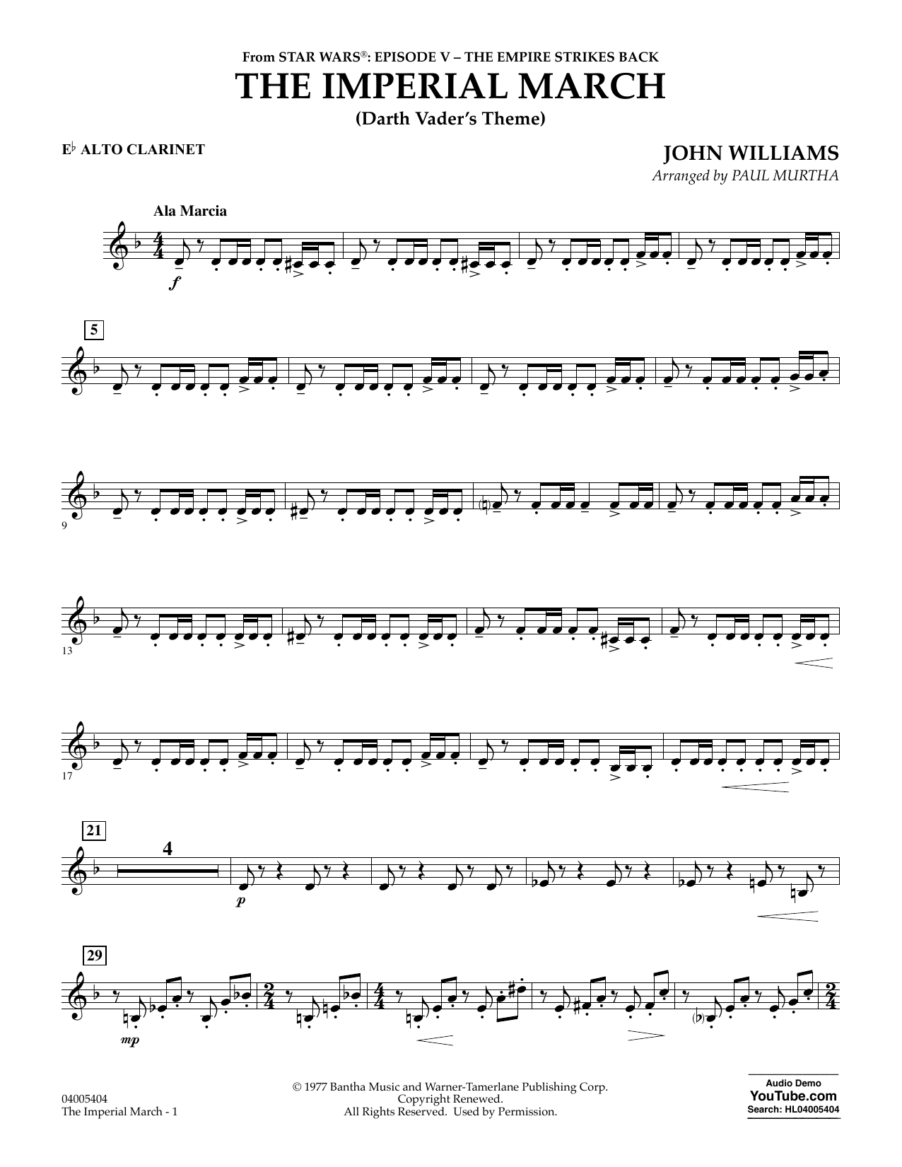Paul Murtha The Imperial March (Darth Vader's Theme) - Eb Alto Clarinet sheet music notes and chords. Download Printable PDF.