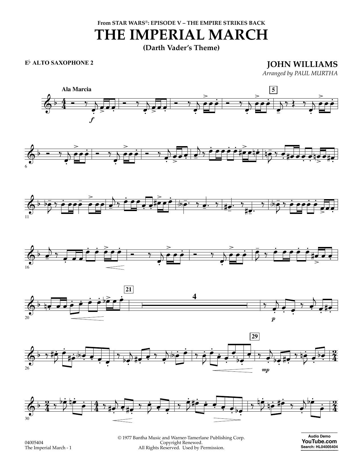 Paul Murtha The Imperial March (Darth Vader's Theme) - Eb Alto Saxophone 2 sheet music notes and chords. Download Printable PDF.