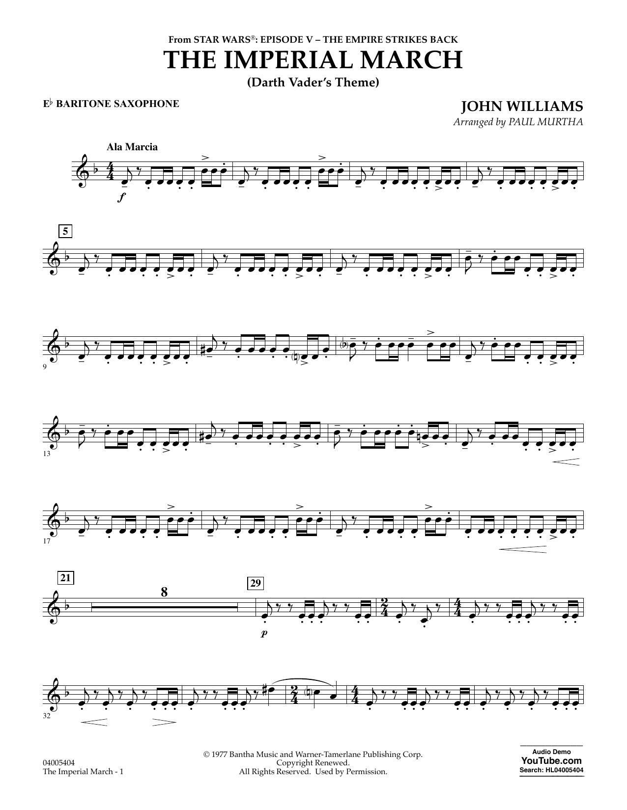 Paul Murtha The Imperial March (Darth Vader's Theme) - Eb Baritone Saxophone sheet music notes and chords. Download Printable PDF.