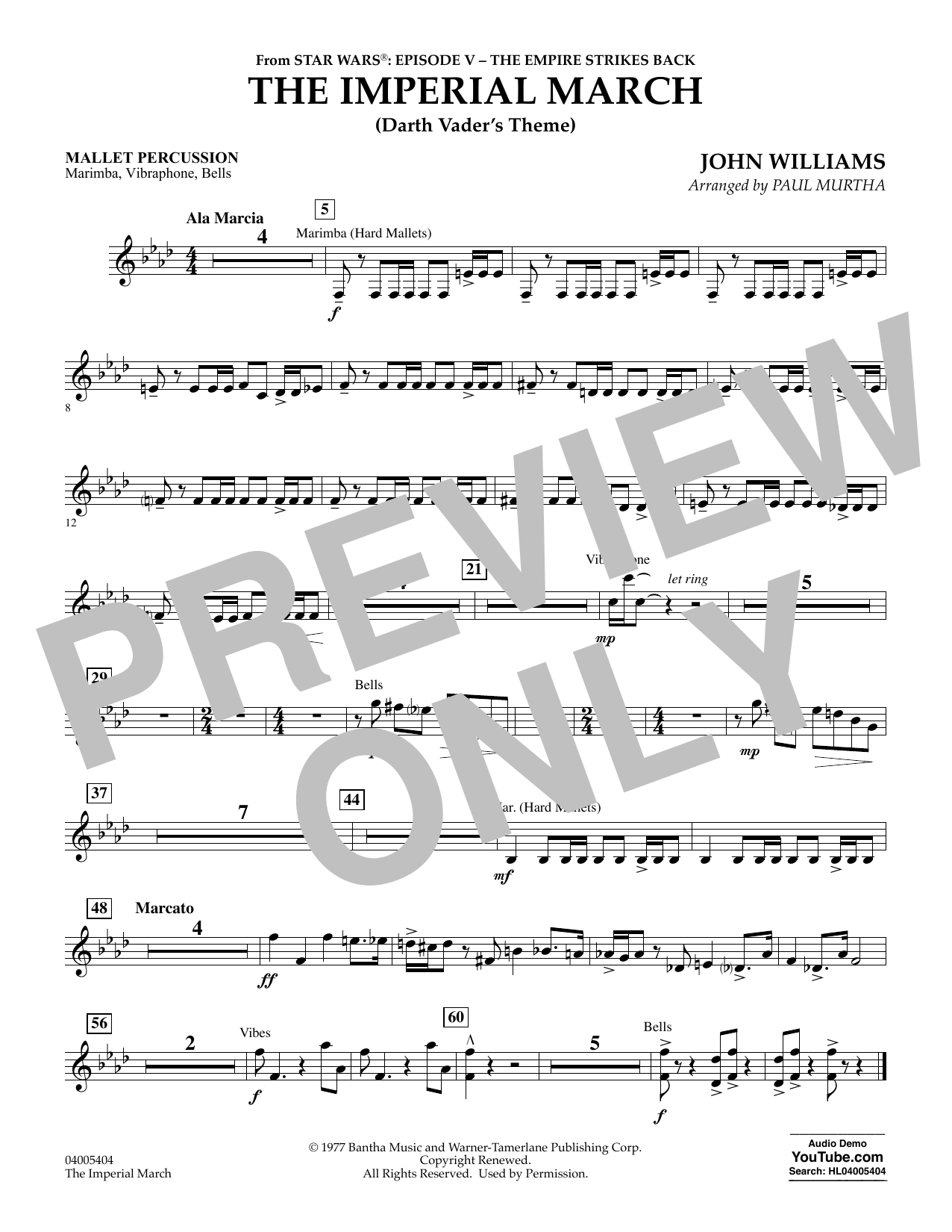 Paul Murtha The Imperial March (Darth Vader's Theme) - Mallet Percussion sheet music notes and chords. Download Printable PDF.