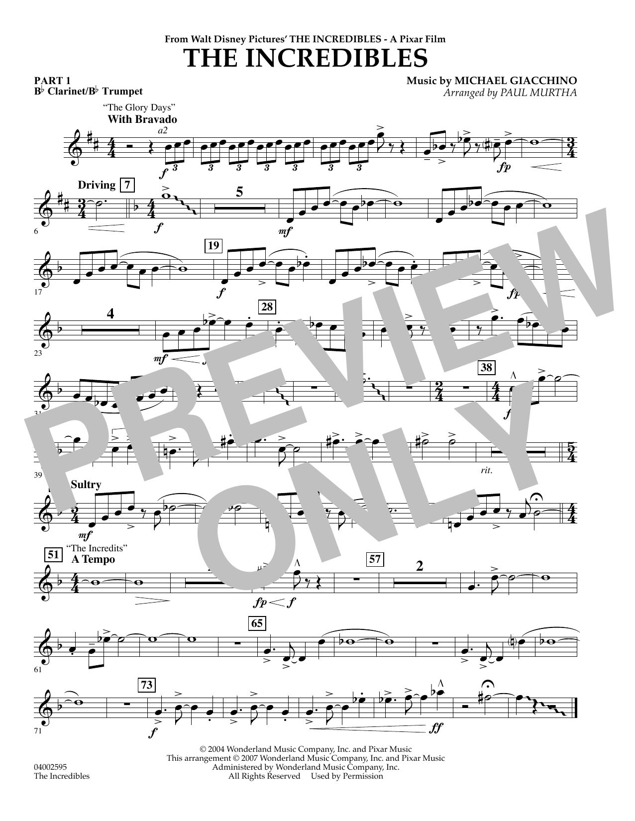 Paul Murtha The Incredibles - Pt.1 - Bb Clarinet/Bb Trumpet sheet music notes and chords