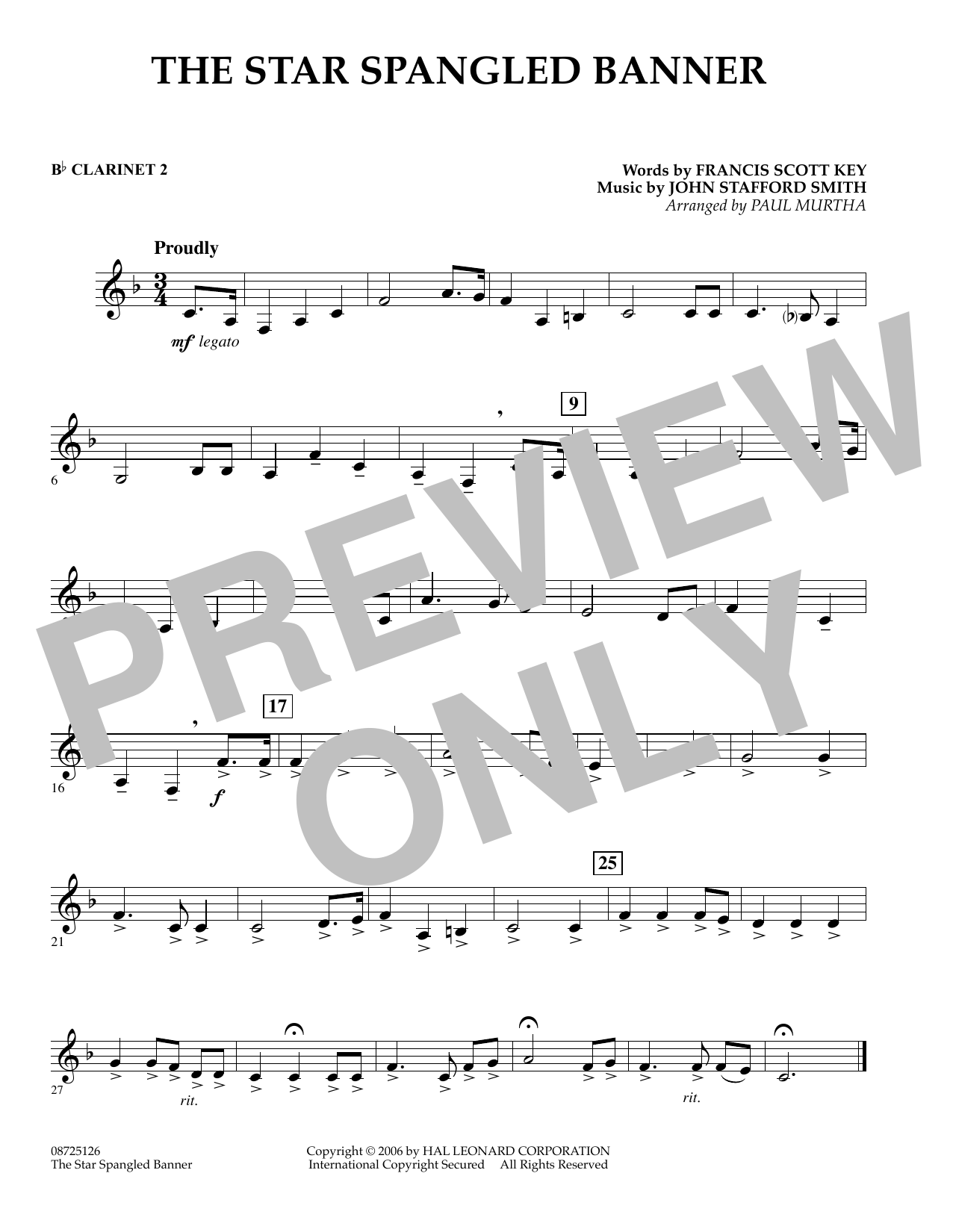 Paul Murtha The Star Spangled Banner Bb Clarinet 2 Sheet Music Pdf Notes Chords Patriotic Score Concert Band Download Printable Sku 348142