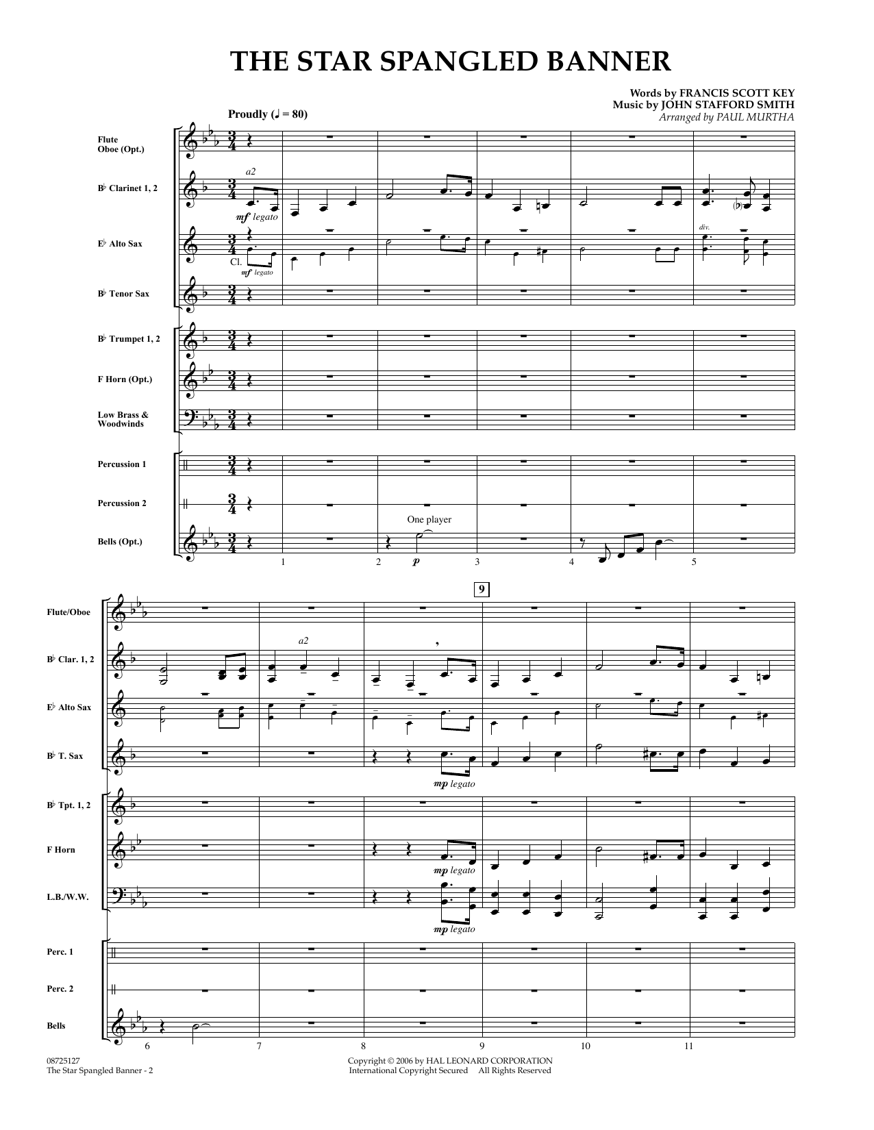 Paul Murtha The Star Spangled Banner Full Score Sheet Music Pdf Notes Chords Patriotic Score Concert Band Download Printable Sku 348138