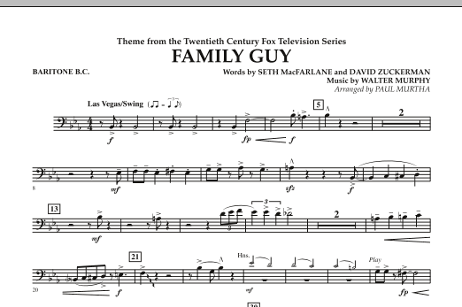 Paul Murtha Theme from Family Guy - Baritone B.C. sheet music notes and chords. Download Printable PDF.