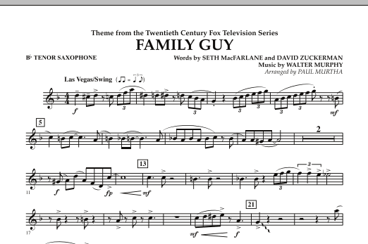 Paul Murtha Theme from Family Guy - Bb Tenor Saxophone sheet music notes and chords. Download Printable PDF.