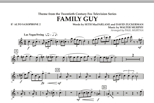 Paul Murtha Theme from Family Guy - Eb Alto Saxophone 2 sheet music notes and chords. Download Printable PDF.