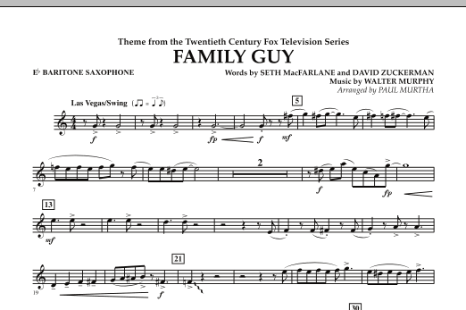 Paul Murtha Theme from Family Guy - Eb Baritone Saxophone sheet music notes and chords. Download Printable PDF.