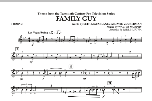 Paul Murtha Theme from Family Guy - F Horn 2 sheet music notes and chords. Download Printable PDF.