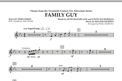 Paul Murtha Theme from Family Guy - Mallet Percussion sheet music notes and chords. Download Printable PDF.