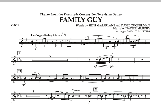 Paul Murtha Theme from Family Guy - Oboe sheet music notes and chords. Download Printable PDF.