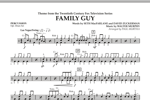 Paul Murtha Theme from Family Guy - Percussion sheet music notes and chords. Download Printable PDF.