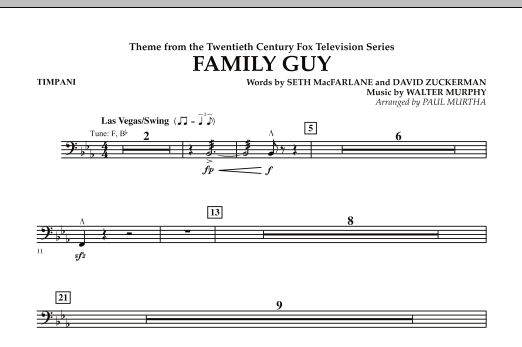 Paul Murtha Theme from Family Guy - Timpani sheet music notes and chords. Download Printable PDF.