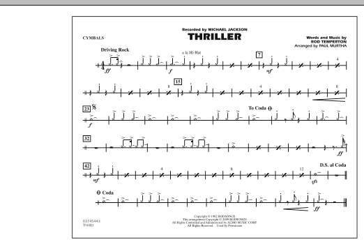 Paul Murtha 'Thriller - Cymbals' Sheet Music Notes, Chords | Download  Printable Marching Band - SKU: 279851