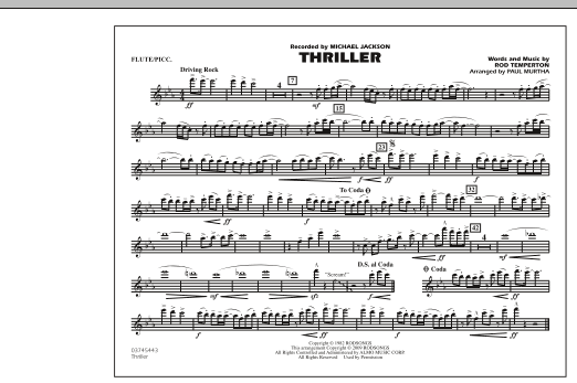 Paul Murtha Thriller - Flute/Piccolo sheet music notes and chords. Download Printable PDF.
