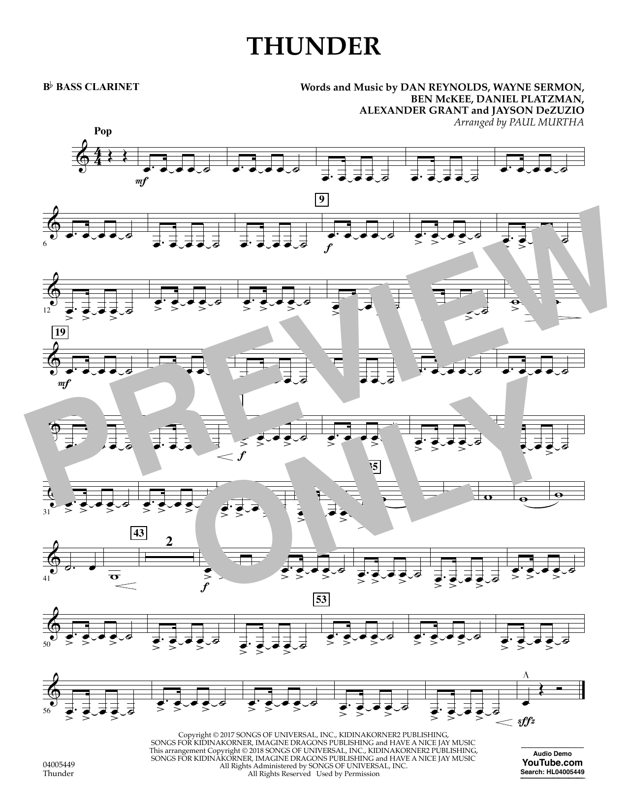Paul Murtha Thunder - Bb Bass Clarinet sheet music notes and chords