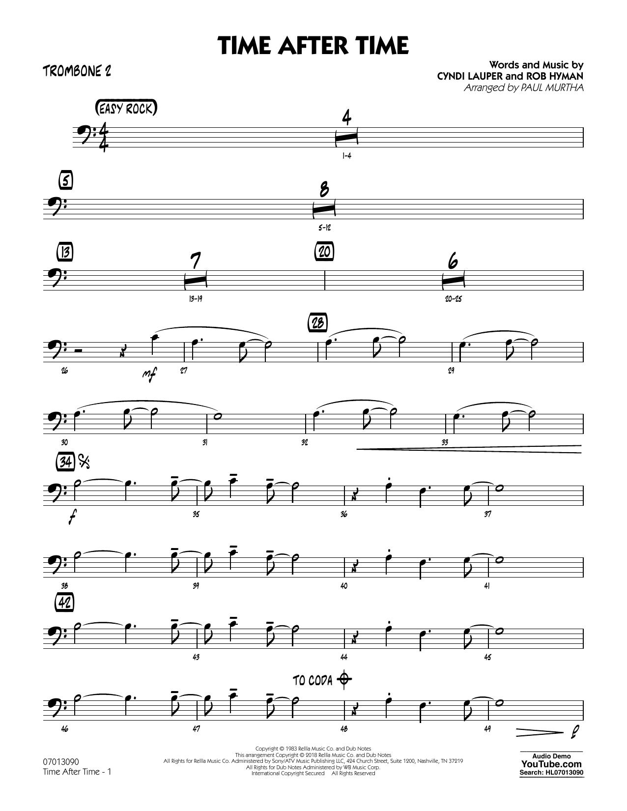 Paul Murtha 'Time After Time - Trombone 2' Sheet Music Notes, Chords |  Download Printable Jazz Ensemble - SKU: 376113
