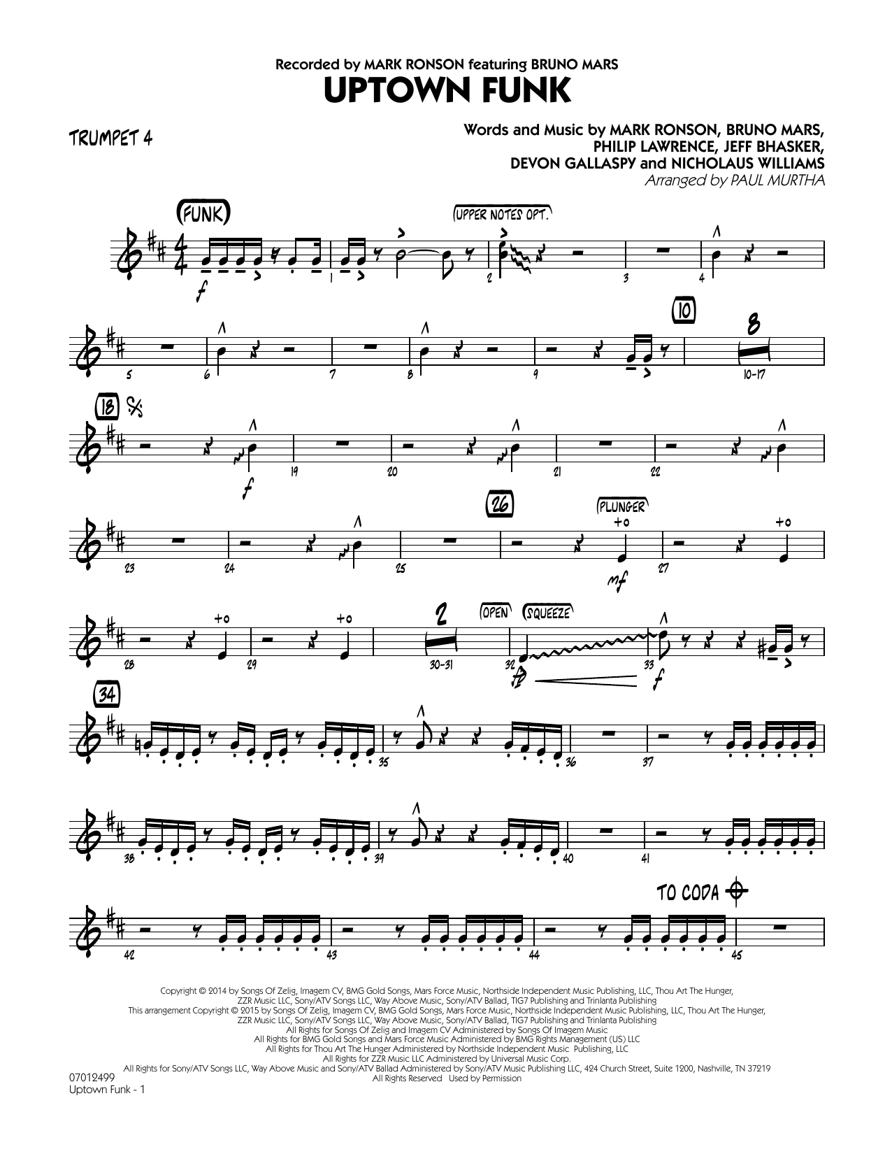 Paul Murtha Uptown Funk! - Trumpet 4 sheet music notes and chords. Download Printable PDF.