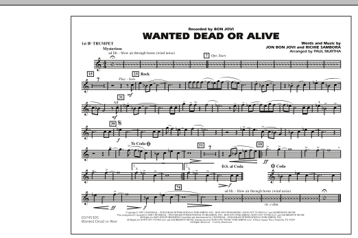 Paul Murtha Wanted Dead or Alive - 1st Bb Trumpet sheet music notes and chords. Download Printable PDF.