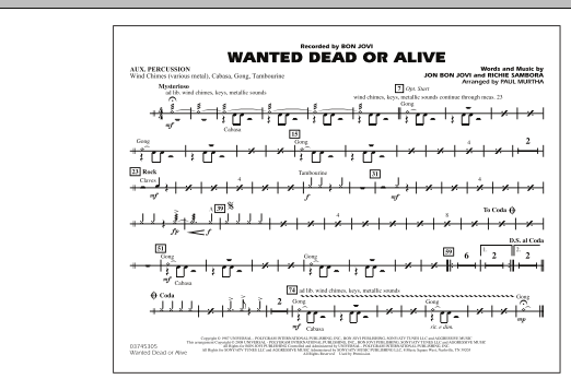 Paul Murtha Wanted Dead or Alive - Aux Percussion sheet music notes and chords