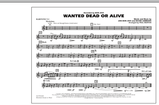 Paul Murtha Wanted Dead or Alive - Baritone T.C. sheet music notes and chords. Download Printable PDF.