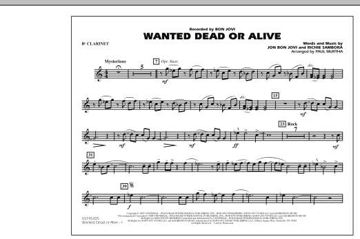 Paul Murtha Wanted Dead or Alive - Bb Clarinet sheet music notes and chords