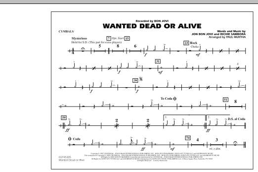 Paul Murtha Wanted Dead or Alive - Cymbals sheet music notes and chords